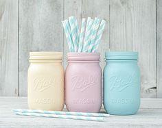 Chambre ADO pastel décor peint mason jar vases, organiser des centres de parti nusery stockage Pastel mariage, pots, décoration de Pâques