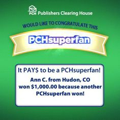 I am PCH SuperFan #1