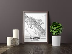Excited to share the latest addition to my #etsy shop: San Mateo map print, Minimalistic wall art poster, California gifts, Birthday Gift, For father, Father