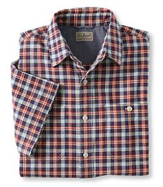#LLBean: Lakewashed Chambray Shirt, Slightly Fitted Short-Sleeve Plaid