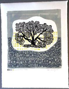 Lonesome Tree Linocut Original by Zebedeeprint on Etsy