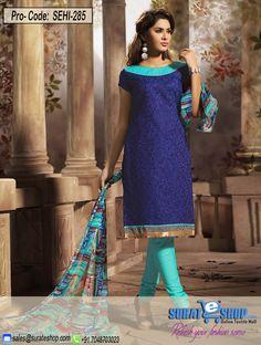 Blue & Cyan Salwar Kameez, Top:Chanderi Front : 0.75,Bottom:Indo 1.90, Dupatta:Chiffon print 2.25, Back 1.10   Visit: http://surateshop.com/product-details.php?cid=2_27_44&pid=11860&mid=0