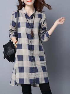 Casual Plaid Print Irregular Long Sleeve Lapel Women Shirts look not only special, but also they always show ladies' glamour perfectly and bring surprise. Dress Shirts For Women, Cardigans For Women, Clothes For Women, Designer Party Wear Dresses, Kurti Designs Party Wear, Stylish Dresses, Nice Dresses, Casual Dresses, Kurta Designs Women