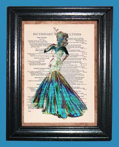 Aqua Starlet  Vintage Dictonary Page Art Print by CocoPuffsArt, $9.99