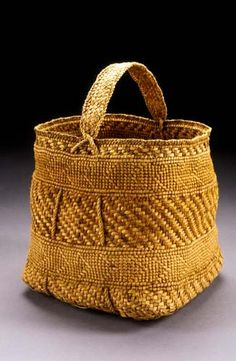 "Love this ""untitled"" basket by Jennifer Hellerzurick, Untitled x x ~Laura Brodniak, Kirkland WA Vintage Baskets, Basket Bag, Weaving Art, Rattan, Basket Weaving, Wicker Baskets, Textiles, Willow Bark, Leather"