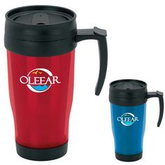 """15 oz. translucent travel mug. Has an acrylic exterior and and interior, a comfort handle and a screw on, leak resistant slider lid. Measures 3 3/8"""" dia x 6 3/4"""" h x 4 5/8"""" w. Reaches its 15 oz. capacity when filled to the rim. BPA free."""