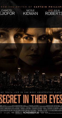 Directed by Billy Ray.  With Chiwetel Ejiofor, Nicole Kidman, Julia Roberts, Lyndon Smith. A tight-knit team of rising investigators, along with their supervisor, is suddenly torn apart when they discover that one of their own teenage daughters has been brutally murdered.