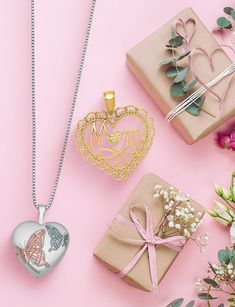 Celebrate Mom with unique jewelry and gift styles. Find the perfect gift here for her special day-> #QualityGold #MothersDay #MothersDayGifts #GiftsForMom #Jewelry #JewelryforMom #HeartLocket #HeartJewelry