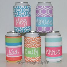 Monogrammed Custom Koozie  Choose your by happythoughtsgifts