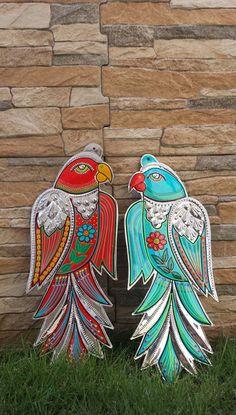 Pakistani Truck Art Parrots / wall art / Blue by ArtandColour