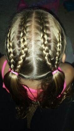 4 dutch braids into pigtails ♡
