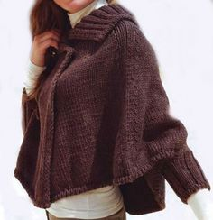 Hand Knit  Poncho with sleeves  From Merino wool Pick by tvkstyle, $220.00