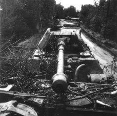 Un Tiger II de la s.Panzer-Abteilung 503 sabordé à lentrée de Vimoutiers, route de Trun (N816, aujourdhui la D916) près du carrefour de la Fauvetière. Il était a priori remorqué par un Bergepanther, lui aussi détruit/abandonné, sur lequel se trouve le photographe canadien auteur du cliché. Le Panzer VI Ausf. B était très loin dafficher de bons taux de disponibilités au sein desschwere Panzer-Abteilungen...