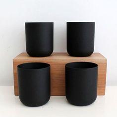 Home Decor Objects Ideas : Matte Black Glass Cup Objet Deco Design, Keramik Design, Kitchenware, Tableware, Keramik Vase, Black Glass, Kitchen Accessories, Ceramic Pottery, Matte Black