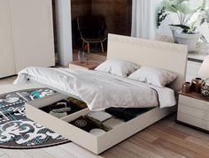 Contemporary Siesta Floral Print Storage Bed Choice of Size and High Gloss or Matt Finish