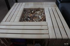 My wooden box table with glass