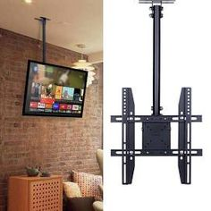 Thinking about mounting a TV on brick fireplace? Puls provides expert TV mounting services for you to enjoy. Check out our list of dos & don'ts to abide by before mounting your TV over a brick fire Tv Hanging From Ceiling, Tv Ceiling Mount, Hanging Tv, Roof Ceiling, Tv Mount Over Fireplace, Mounted Fireplace, Wall Mounted Tv, Brick Fireplace, Outdoor Tv Mount