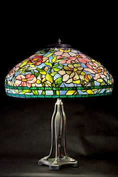 Tiffany stained glass pink peony. Glass lamoshade. by WPworkshop