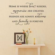 Home is where love resides, memories are created, friends are always welcome, and family is forever.