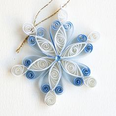 6 point blue and white closed heart quilled snowflake with blue diamante | Flickr - Photo Sharing!