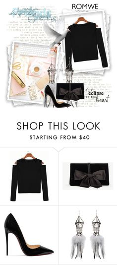 """""""Black Open Shoulder Crop T-shirt"""" by wind-right ❤ liked on Polyvore featuring Ann Taylor, Christian Louboutin and Clemmie Watson"""