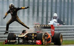 Nick Heidfeld seconds before his engine blew up actually injuring a marshall.