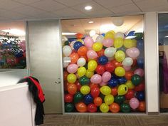 For MACK -- fill up to his bunk bed, with balloons! 17.) Throw coworkers a surprise party... with extra balloons