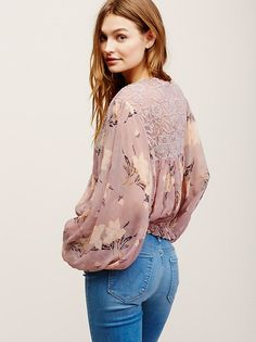 Caught Up Printed Blouse at Free People Clothing Boutique