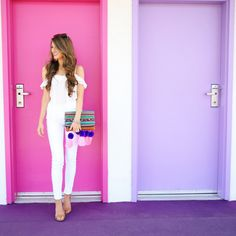 white off shoulder top // similar white pants // Steve Madden heels (I also have them in leopard !) clutch from Doll Bo...