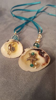 Sea Shell Christmas Ornaments set of two by whatsnextdesign