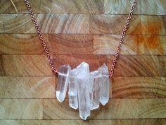 Crystal Quartz Necklace Rose Gold and Rough Raw by HaniaMarysia, £16.50