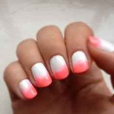 ombre coral nails