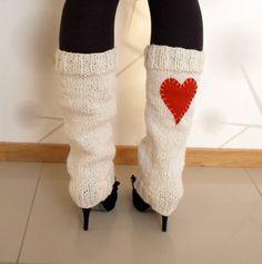 Long Hand knitted Heart leg warmers/boot cuffs/ by VANAGScreative, $46.00