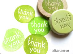 thank you rubber stamp. circle rubber stamp. hand carved rubber stamp. mounted.