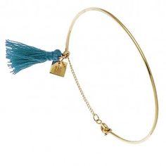Bracelet jonc Pompon (turquoise) - Bijoux Fantaisie Créateurs