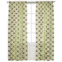 Bacati Green/Yellow/Chocolate Mod Dots Curtain Panel