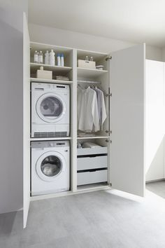 Ikea Laundry Room, Modern Laundry Rooms, Basement Laundry, Farmhouse Laundry Room, Laundry Room Organization, Laundry Closet, Laundry Cupboard, Utility Cupboard, Laundry Nook