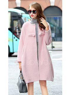 Jacken & Mäntel - $80.77 - Wolle & Wollmischung Polyester Grau Rosa Lang…