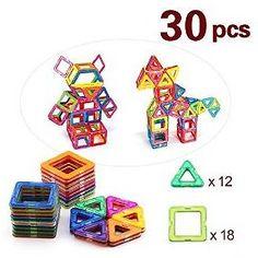 BAA SHOP 30pcs Magnetic Building Blocks ToysEducational Stacking Construction Magnet Blocks Sets.