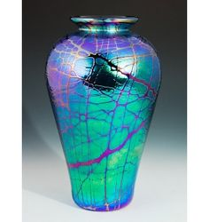 Iridescent Teardrop Vase Glass Vase Handcrafted by Romeo Glass