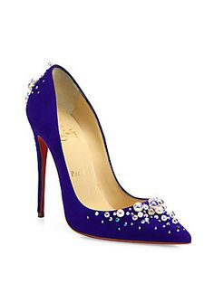 Christian Louboutin Canditate Pearly Suede Point-Toe Pumps