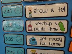 First Grade Garden: Classroom Organization classroom schedule cards Classroom Schedule, Classroom Labels, Classroom Organisation, Teacher Organization, Teacher Tools, Kindergarten Classroom, Future Classroom, School Classroom, Classroom Management
