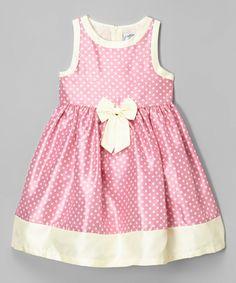 This Mia Juliana Pink & Cream Polka Dot Shantung Dress - Infant, Toddler & Girls by Mia Juliana is perfect! #zulilyfinds