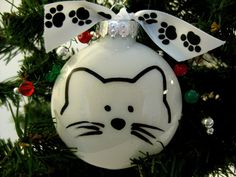 Cat Face PURRsonalized Christmas Ornament in Red or White. $10.00, via Etsy.