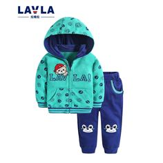 (37.90$)  Buy here - http://aihlz.worlditems.win/all/product.php?id=32684708352 - Lavla baby children clothing set boys girls zip up hoodie clothes spring Autumn cartoon100% cotton sports suit coat pants sets