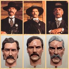 Kurt Russell, Bill Paxton, and Sam Elliott from the film Tombstone and the three head sculpts below painted by Kevin Hillier