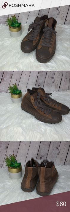 af3a57518c3a82 CONVERSE All Star Hi Tops Converse all star hi tops are leather. These have  only