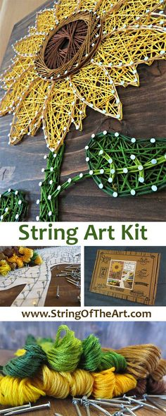 DIY String Art Crafts Kit. Visit www.StringoftheArt.com to learn more about this Sunflower DIY String Art Kit! Crafts Kit comes with the highest quality embroidery floss, HAND sanded and HAND stained wood board, metallic wire nails, pattern template, and easy instructions. Sunflower String Art, Crafts Kit, DIY Kit, String Art Flower.