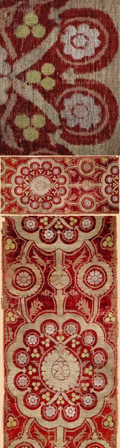 "Antique Turkish Textile.Ottoman Cut Velvet with silver thread. Ottoman Dynasty 1453-1922A.D. Circa 1480, Size 51"" x 24"", 130 x 61cm"
