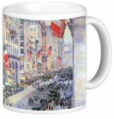Rikki KnightTM Childe Hassam Art The Avenue along 34th Street May 1917 11 oz Photo Quality Ceramic Coffee Mug Cup